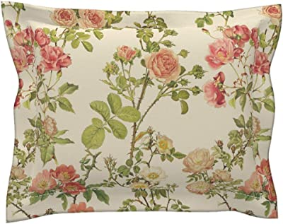 Floral Rose Flower Vintage Victorian Alabaster Cream Pillow Sham by Roostery