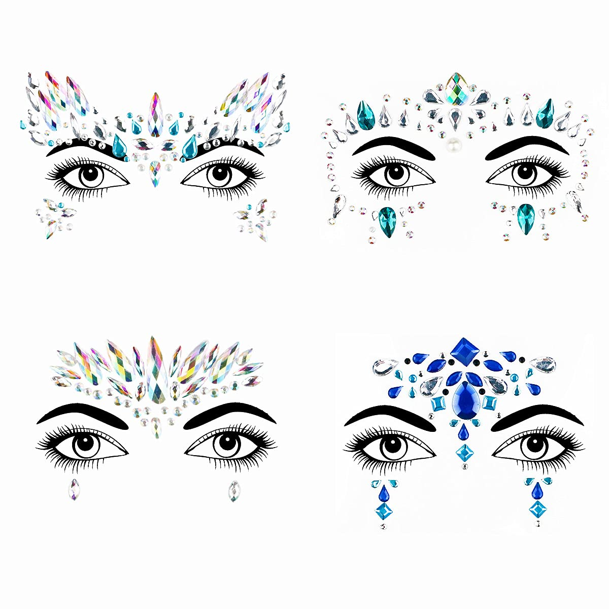 Bowitzki Face Mail order Jewels 4 Sets Gems Mermaid Glitter Rhin Very popular Women