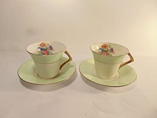 Genuine Bone China Colclough Mint Green Band with Flowers and Gold Accent Trim Cup and Saucer, Set of 2 …