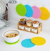 SHOPPOSTREET Round Shape Silica Gel Anti Heat Resistant Pot Holder Anti Slip Resistant Multipurpose Silicon Disc Pads (Set of 4)
