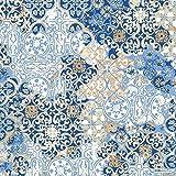 Tela de loneta estampada digital - retal de 100 cm largo x 280 cm ancho | azulejos - azul ― 1 metro