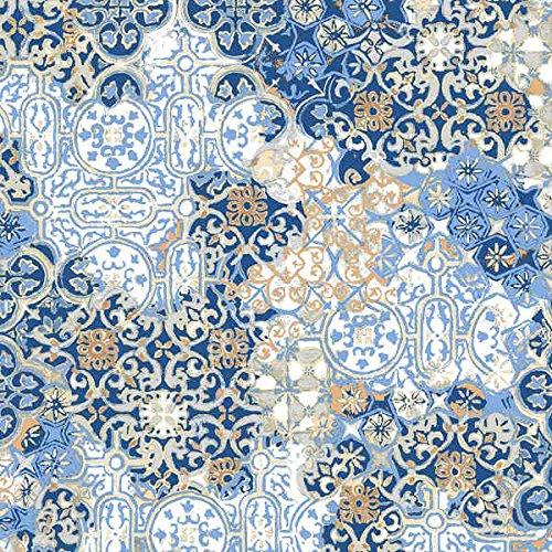 Kt KILOtela Tela de loneta Estampada Digital - Tapizar, Cojines, decoración hogar - Retal de 300 cm Largo x 280 cm Ancho | Azulejos - Azul ― 3 Metros