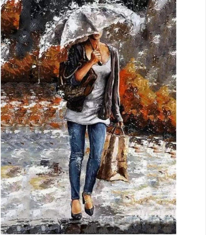 CZYYOU CZYYOU CZYYOU DIY Digital Malen Nach Zahlen Mädchen Im Regen Ölgemälde Wandgemälde Kits Färbung Wandkunst Bild Geschenk - Mit Rahmen - 40x50cm B07PP3VPKY   Billiger als der Preis  67dfc5