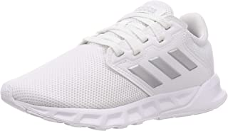 Adidas Showtheway Mesh Contrast Side Stripe Lace-up Running Sneakers for Women - Ftwr White and Silver Metallic, 39 1/3