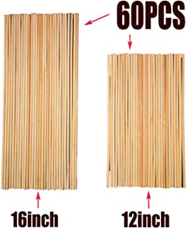 Fartime 12 Inch Long and 16 Inch Long Natural Blank Round Unfinished Bamboo Dowel Rods Craft Sticks Craft Projects,60 Pieces(0.24 Inch Diameter)