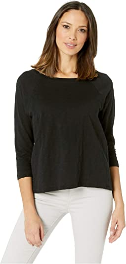 3/4 Sleeve Loose Knit Slub Pleat Back T-Shirt