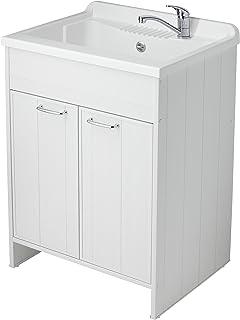 Negrari 9007K Meuble avec lavabo en PVC, Blanc, 90x65x39 cm