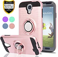 S4 Case,Galaxy S4 Case with HD Phone Screen Protector,Ymhxcy 360 Degree Rotating Ring & Bracket Dual Layer Resistant Back Cover for Samsung Galaxy S4-ZH Rose Gold