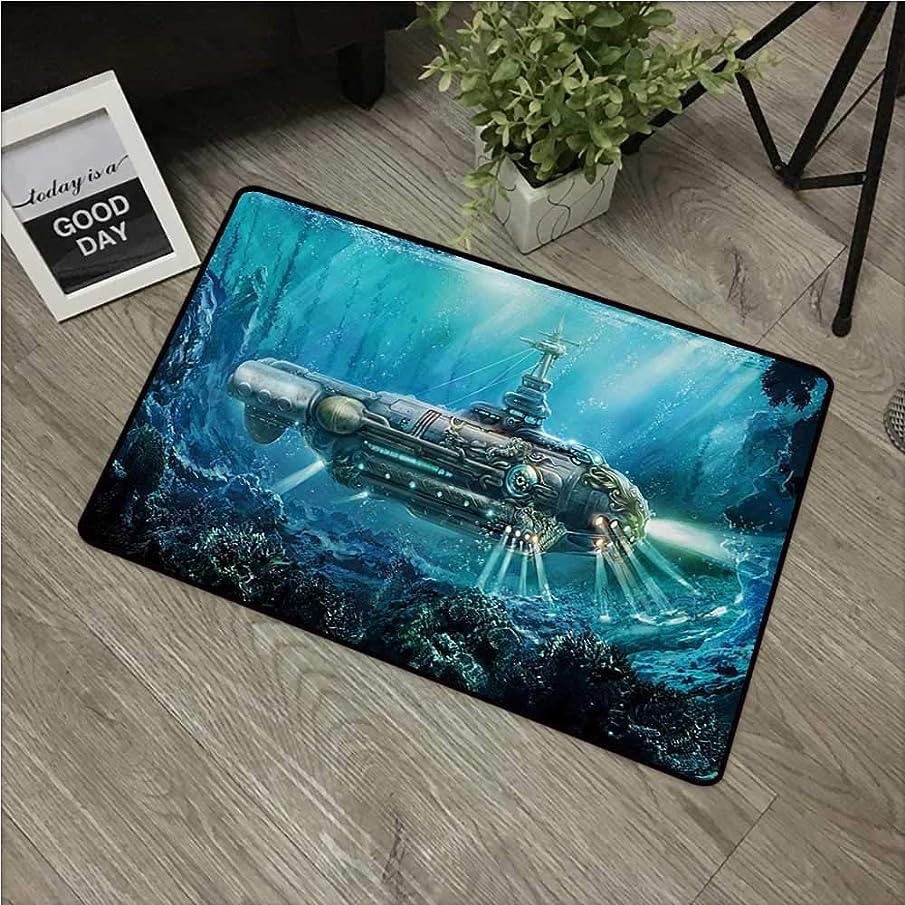 HRoomDecor Fantasy,Funny doormats Science Fiction Inspired Submarine Underwater Futuristic Digital Illustration W 16
