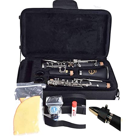 Herche Superior Bb Clarinet | Professional Grade Musical Instruments for All Levels. Complete Set w/shoulder Carrying Case, Rico Bb Clarinet Reeds, Swab, CorkGrease, Service Plan. Educator Approved.