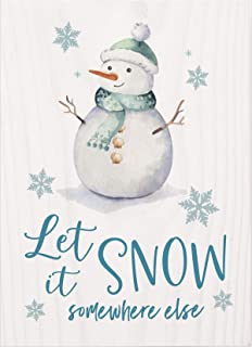 Let It Snow Somewhere Else Winter White 7 x 5 Pine Wood Tabletop Word Block Sign