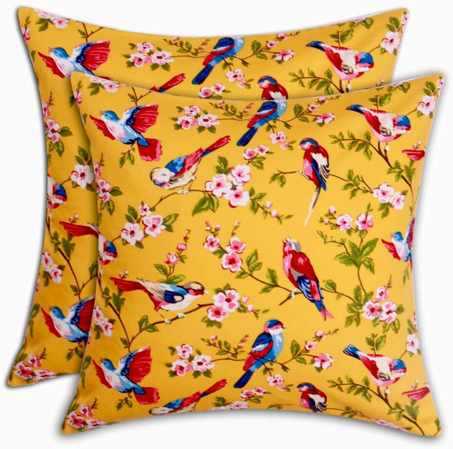 Topics on TV Max 70% OFF Tina's 100% Cotton Floral Bird Pillow Throw Print Covers Square