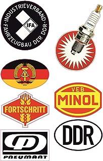 24/7stickers #693 / DDR Aufkleber Set 2 Breite je 6,5cm VEB IFA DDR Oldtimer MINOL Retro Vintage Osten für Trabant Barkas Wartburg Simson usw.