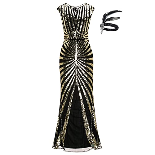 fb65f800e9 1920s Sequin Mermaid Formal Long Flapper Gown Great Gatsby Party Evening  Dress