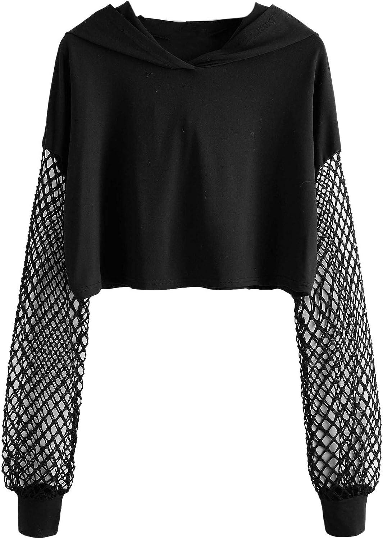 Verdusa Women's Casual Long Sleeve Fishnet Pullover Hoodie Crop Top Sweatshirt