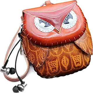 Leather Zippered Coin Purse Handcrafted Change Pouch Purse Wrist Clutch with Keyring for Women