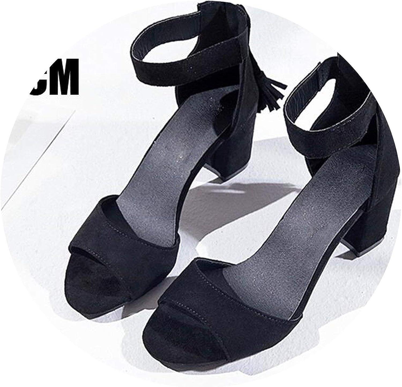 ALWAYS ME Woman shoes Summer Tassel Flock Sandals Fringe Sandal Heels Thick High Heels Sandals Sandalias