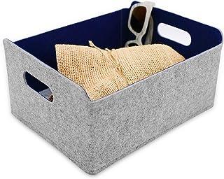 収納ボックス折畳み式フェルト 布製収納箱 収納ケース 化粧品収納 収納用品 小物入れ フェルト 日用雑貨 (绀)