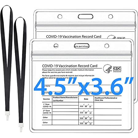 Elekin 2 Packs CDC Vaccine Card Protector Waterproof Card Holder 4.5'' X 3.6'' Badge Holders Record Card Case with Zip and 2 Lanyards