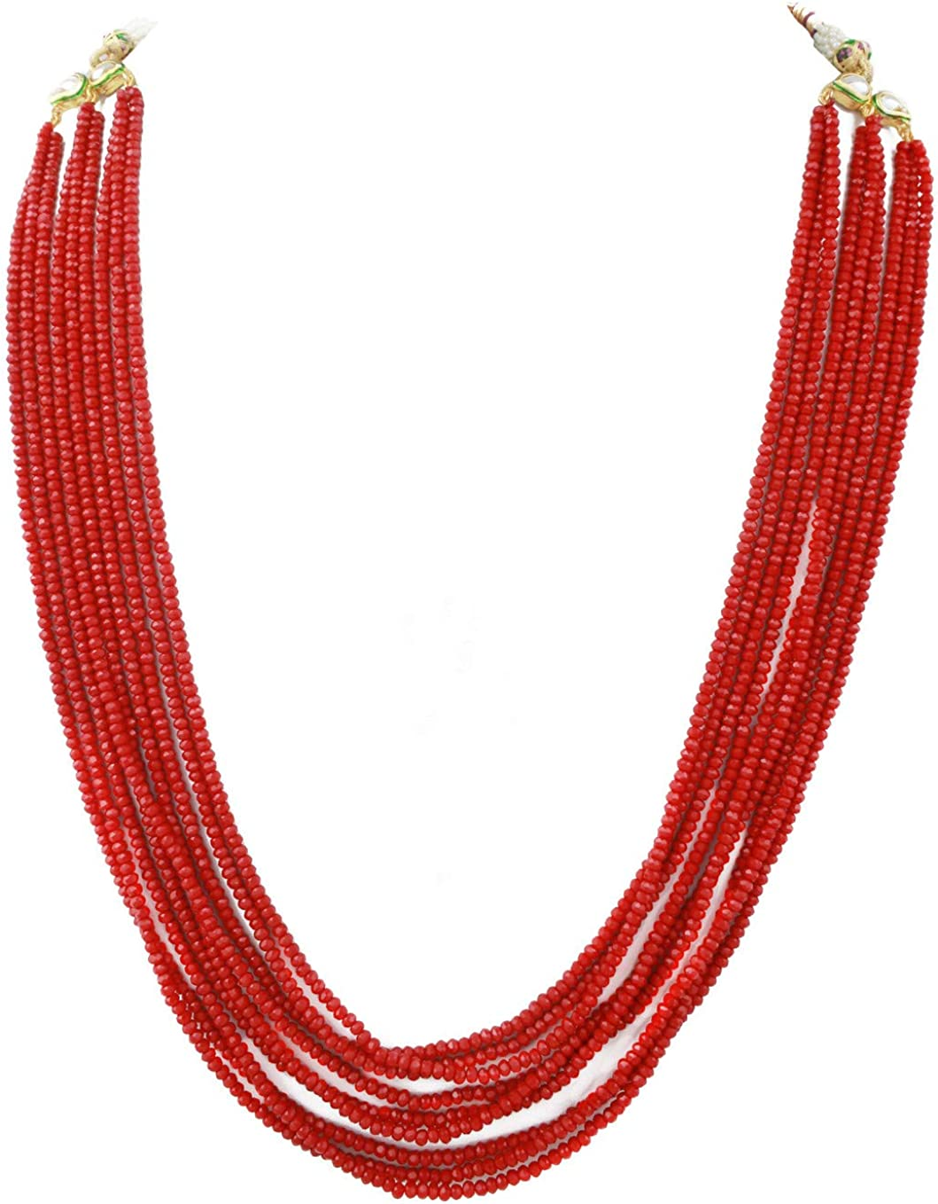 Babosa Sakhi Multi String Red Necklace Indian Ethnic Party Wear Jewelry Set