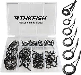 THKFISH 釣り竿ガイド 釣り竿修理キット釣り竿のヒントトップ 交換用ロッドガイド 35個