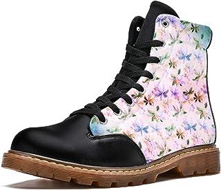 LORVIES Feuilles de Plantes Papillon Violet rétro Bottes d'hiver Chaussures Montantes en Toile à Lacets pour Hommes