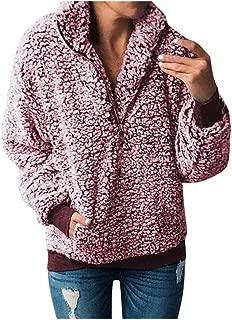 Eaktool Women Fashion Autumn Winter Warm Plush Thick Long-Sleeved Jacket Coat Christmas Pullover Sweatshirts