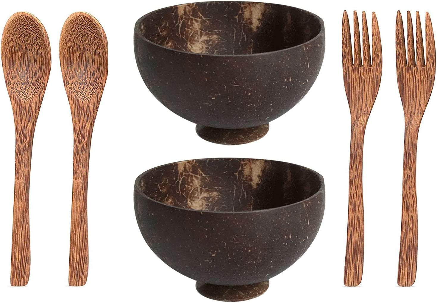Jcevium Cuencos de coco con felpa, tenedores, cuencos para smoothies, ensaladas, artesanías hechas a mano, cuencos para velas, ensaladas, batidos y frutales.