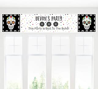 Big Dot of Happiness Personalized Day of the Dead - Custom Halloween Sugar Skull Party Decorations Party Banner