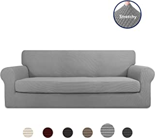 PureFit 2 Pieces Stretch Slipcover for 3 Cushion Couch – Spandex Jacquard Non-Slip Soft Fitted Sofa Couch Cover, Washable Furniture Protector with Non Skid Elastic Bottom for Kids (Sofa, Light Gray)