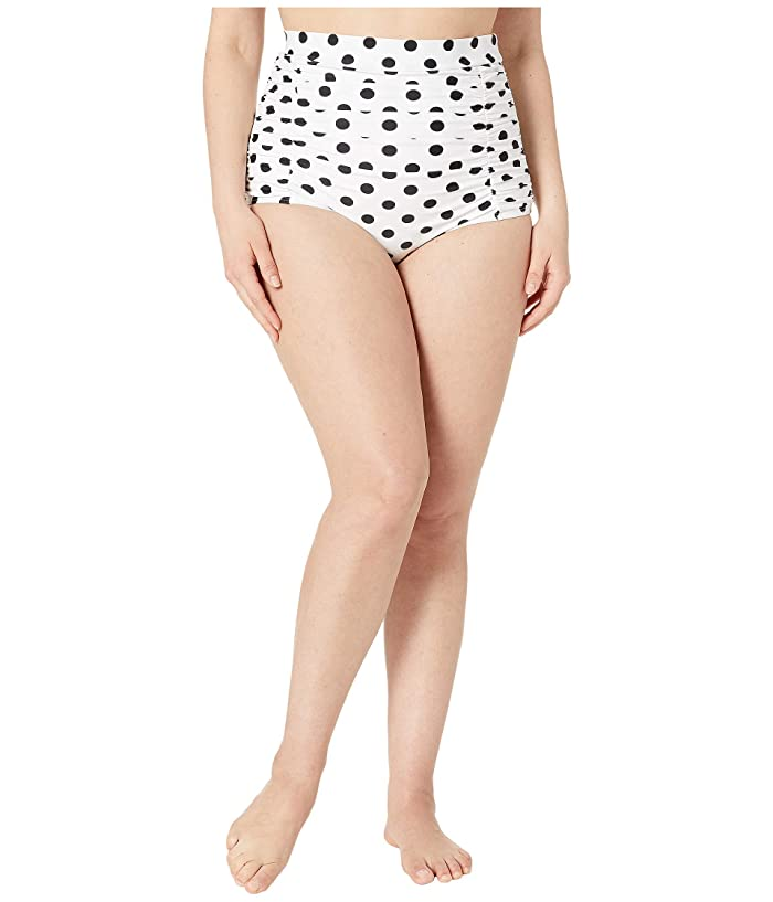 Unique Vintage Plus Size Monroe High-Waist Swim Bottoms (White/Black Dot) Women
