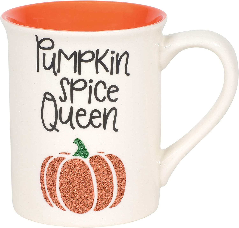 Enesco Our Name is Mud Halloween Pumpkin Spice Queen Glitter Coffee Mug, 16 Ounce, Multicolor