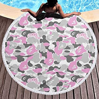 Hahal Beach Towel, Camouflage-Bathing-ape-Wallpaper-Wallpapers-camouflage7 Absorbent Soft Round Blanket Dry Quickly for Outdoor Indoor