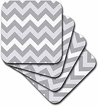 3dRose CST_179806_2 Shades of Gray Chevron Zig Zag Pattern Light Pastel Grey Zigzags Soft Coasters, Set of 8