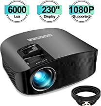 Projector, GooDee 2020 Upgrade HD Video Projector 6000L Outdoor Movie Projector,..