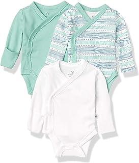 HonestBaby Baby 3-Pack Organic Cotton Long Sleeve Side-Snap Kimono Bodysuits