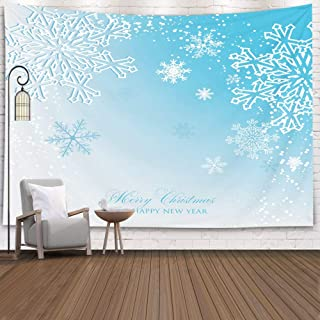 EMMTEEY Wall Tapestry, Tapestries Décor Living Room Bedroom for Home Inhouse by Printed 80X60 Inches for Christmas Party Invitation Paper Cut Origami Snowflake Gray Background Template,Black Gray