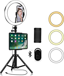 LED Ring Light with Phone Tripod Stand Kit - Yingnuost 10'' Camera Photography Video Recording Selfie Ringlight with Table...