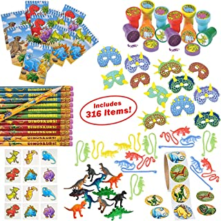 Dinosaur Party Supplies for Boys Girls 316 Piece | Dinosaur Birthday Decorations and Kids Party Favors for 12 Children | Toys, Stickers, Figures, Masks, Tattoos, Stampers | Mr. E=mc² Birthday Supplies