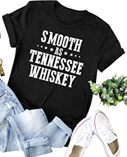 ZJP Women Smooth AS Tennessee Whiskey Letter Print Short Sleeve T-Shirt Tee Tops