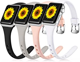 Laffav 4 Pack Sport Bands Compatible with Apple Watch 40mm 38mm iWatch SE & Series 6 & Series 5 4 3 2 1 for Women Men, Bla...