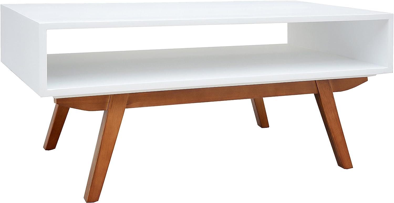Porthos Home Mid-Century Modern Crawford Coffee Table, White