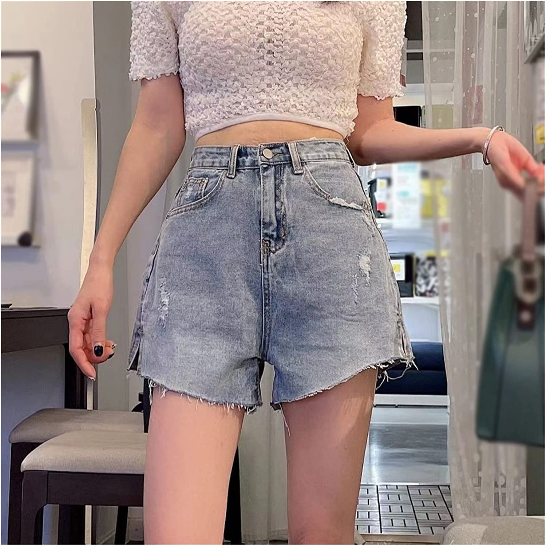 QZXQW Shorts Denim Women's Hot Pants Women's Destroyed Ripped Hole Denim Shorts Sexy Short Jeans Summer High Waist Denim Shorts Hole Tear Tassel Denim Shorts (Color : Blue, Size : X-Large)