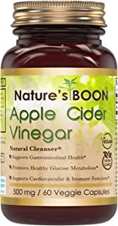 Nature's Boon Premium Quality Apple Cider Vinegar 500 mg, 60 Veggie Capsules (Glass Bottle) -Supports Healthy Digestion -S...