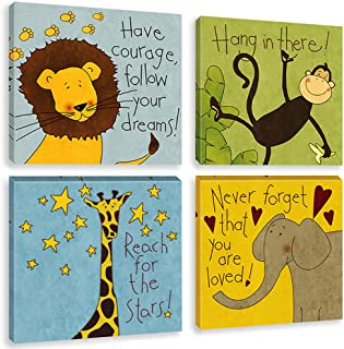 Biufo - Framed Animals Wall Art Canvas Painting - Brave Lion Elephant Smart Monkey Giraffe Inspiring Cartoon Poster - Kids Room Nursery Decor - 12x12 Inches Set of 4