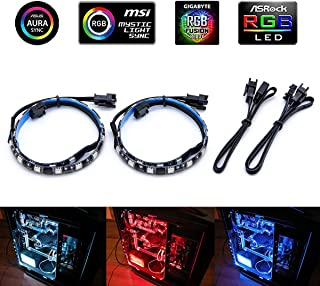 Computer Magnetic RGB LED Strip, 2Pcs LED Strip Light Combo Kit for ASUS Aura Sync Motherboard/PC case(Works Only with 12V 4Pin RGB Header)
