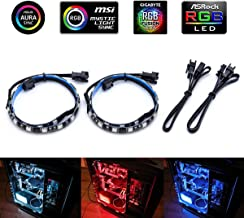 Computer Magnetic RGB LED Strip, 2Pcs LED Strip Light Combo Kit for ASUS Aura Sync Motherboard / PC Case (Works Only with 12V 4Pin RGB Header)