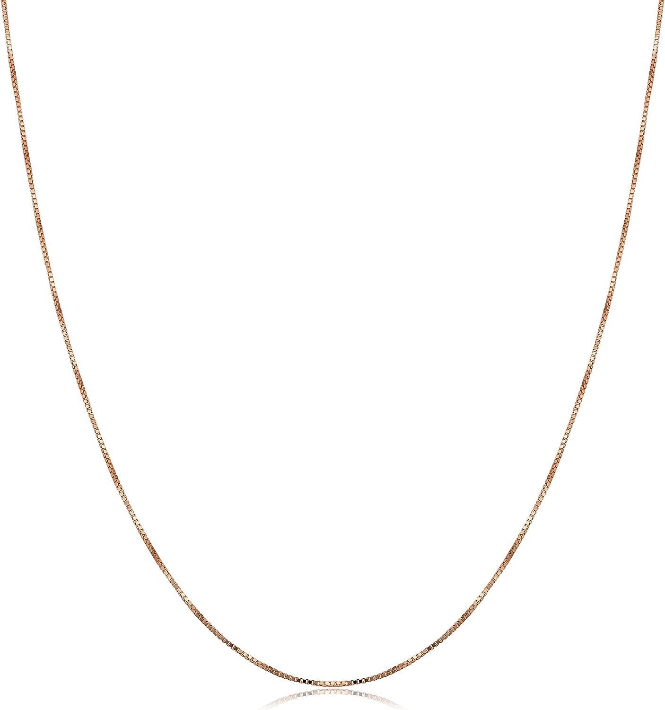 Kooljewelry 10k Rose Gold Delicate Box Chain Necklace (0.5 mm, 18 inch)