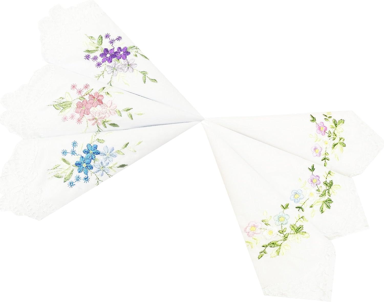 Perfect Wedding White Lace Border Embroidered Cotton Handkerchiefs Bulk