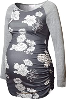 Maternity Shirt Long Sleeve Basic Top Ruch Sides Bodycon Tshirt for Pregnant Women